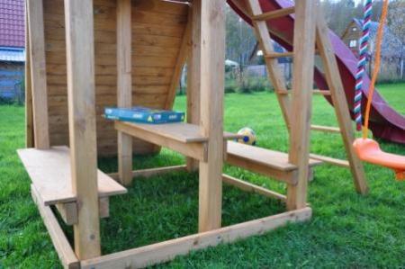 Столик+2 лавочки (дополнительные элементы к детской деревянной площадке серии Мадрид)