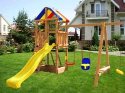 Деревянная детская площадка  Пикник с лавочкой