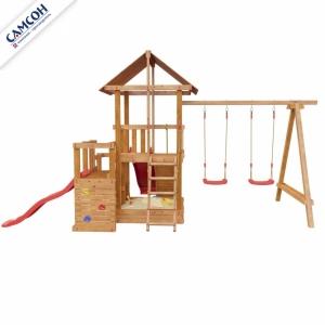 Детская деревянная площадка СИБИРИКА С ДВУМЯ ГОРКАМИ